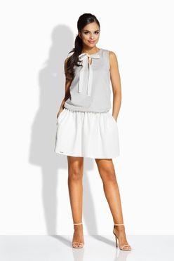 Dvojfarebné šedo smotanové šaty s mašľou L214