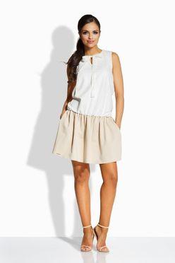 Dvojfarebné smotanovo-bežové šaty s mašľou L214