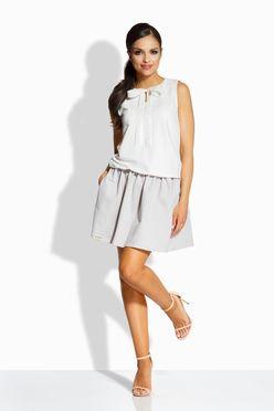 Dvojfarebné smotanovo-šedé šaty s mašľou L214