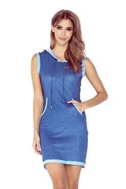 Džínsové šaty s kapucňou MM009 2 0e8c3a73c3