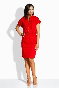 Elegantné červené šaty so zipsom vpredu L207