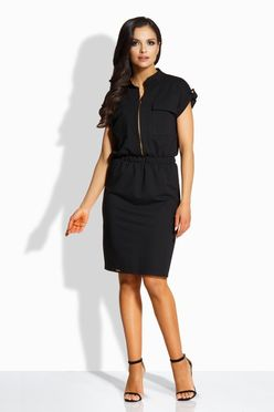 Elegantné čierne šaty so zipsom vpredu L207