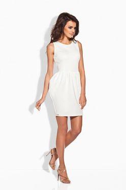 Elegantné biele nazberkané dámske šaty L141