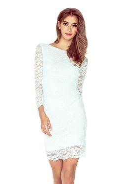 Elegantné čipkované šaty v bielej farbe 145-3