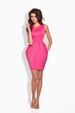 Elegantné fuksiové nazberkané dámske šaty L141