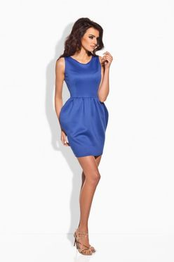 Elegantné modré nazberkané dámske šaty L141
