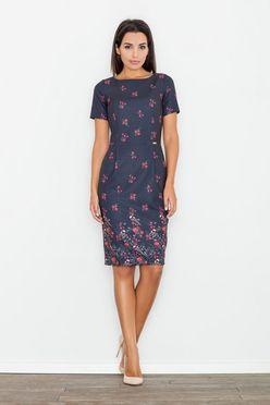 Granátové kvietkované dámske šaty M536