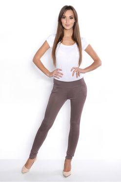Hnedé elastické teplákové nohavice s vreckami OX1049
