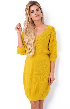 Horčicové pletené dámske šaty F640