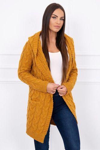 Horčicový dámsky pletený sveter s kapucňou Arizon K13210
