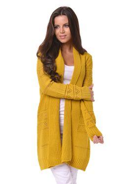 Horčicový vzorovaný dámsky sveter Margaret 519f4a5999e