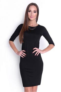 Jednoduché čierne priliehavé šaty OX8194