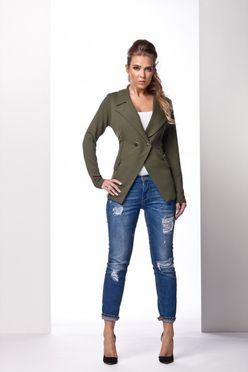 Khaki dámske sako s dvomi gombíkmi