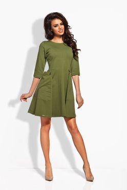 Khaki dámske šaty s dvomi gombíkmi L125