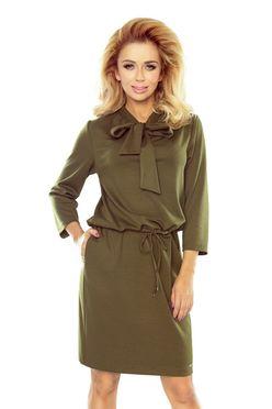 Khaki dámske šaty ZUZIA s mašľou 177-1