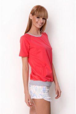 Korálovo-šedé dámske tričko OX 2330