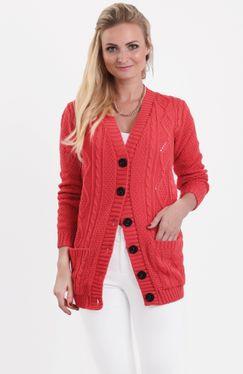 Koralový pletený sveter na gombíky SELMA