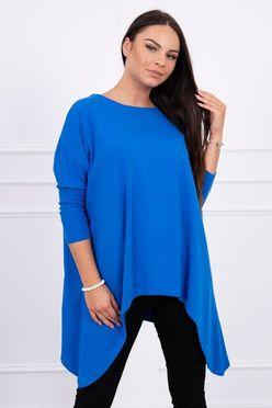 Kráľovsky modré predĺžené dámske tričko oversize K12788 f468c93277