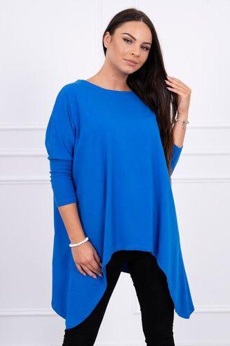 Kráľovsky modré predĺžené dámske tričko oversize K12788