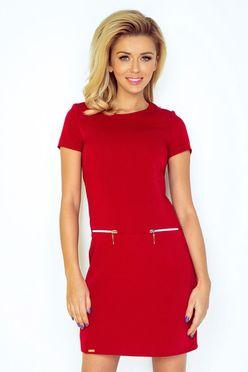 Krátke červené dámske šaty so zipsami 134/2