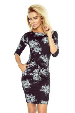 Krátke čierne šaty s potlačou kvetov 186-1 f07c7674a37