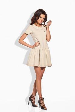Krátke dámske šaty béžové 143