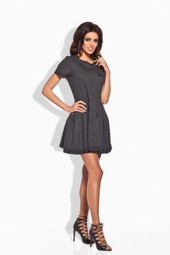 Krátke dámske šaty grafitové 143 48ab932ff63