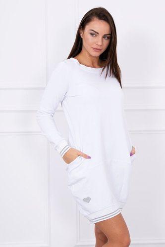 Krátke športové biele šaty s vreckami Esilla K10649