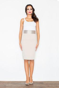 Krémová puzdrová sukňa s pásom M160