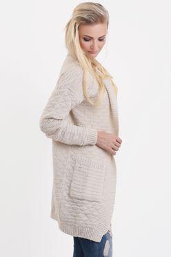 Krémový pletený dámsky sveter s vreckami SOFFIA