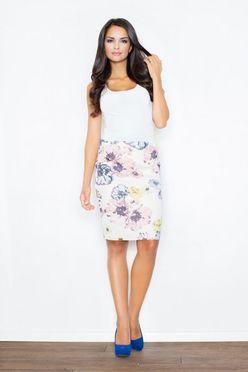Kvetovaná puzdrová dámska sukňa M387