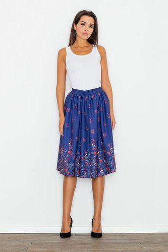 Kvietkovaná modrá dámska sukňa M537