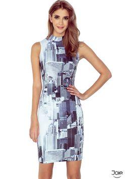 Letné krátke šaty bez rukávov s potlačou mesta MM 002-1