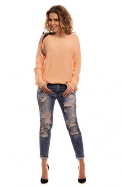 Marhuľkový dámsky sveter s mašľou