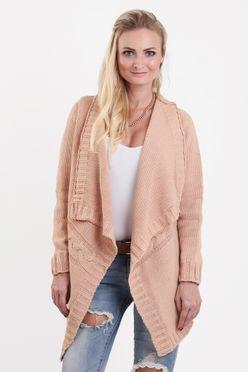 Marhuľový dámsky sveter bez gombíkov Lora