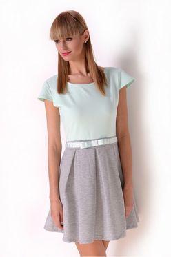 Mätovo-šedé krátke letné šaty OX2428