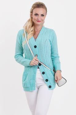 Mätový pletený sveter na gombíky SELMA
