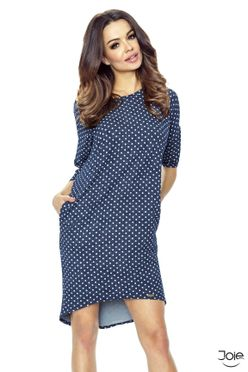 Modré dámske šaty s bielymi bodkami 09-14