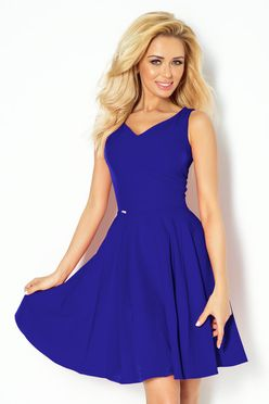 Modré dámske šaty so srdcovým výstrihom 114-6