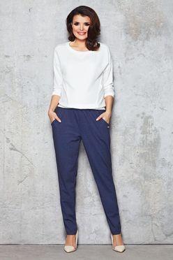 Modré dámske nohavice s vreckami IFM051