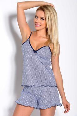 Modré letné dámske pyžamo Sabina 1120