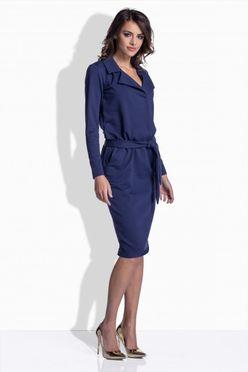 Modré dámske šaty s opaskom 161