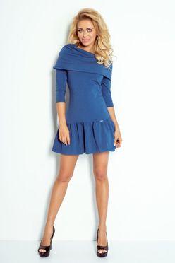 Modré dámske šaty s ovinutím cez plecia 108-2 e4f3af2824e