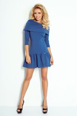 Modré dámske šaty s ovinutím cez plecia 108-2