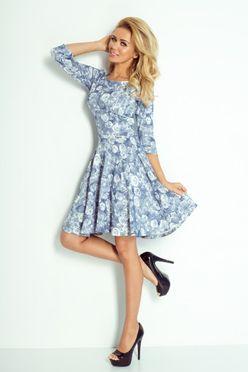 Modré dámske šaty s potlačou ruží