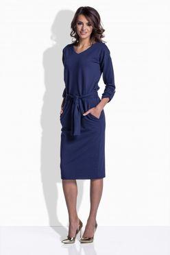 Modré midi šaty s viazaním 157