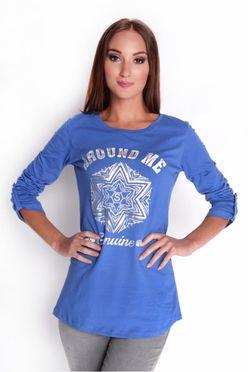 Modré dámske tričko s potlačou OX6632