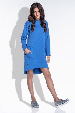 Modré vzadu predĺžené dámske šaty s kapucňou F433