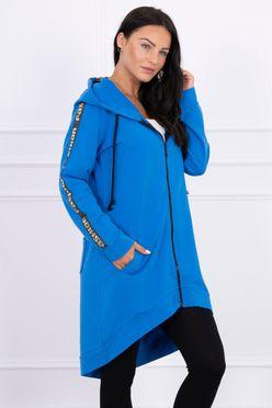 Modro džínsová predĺžená dámska mikina so zipsom 8997