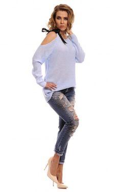 Modrý dámsky sveter s mašľou